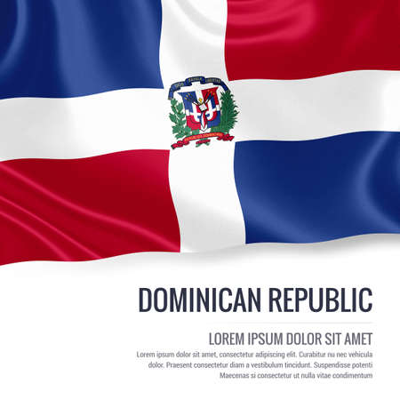 Silky flag of Dominican Republic waving on an isolated white background with the white text area for your advert message. 3D rendering. Banco de Imagens - 76779914