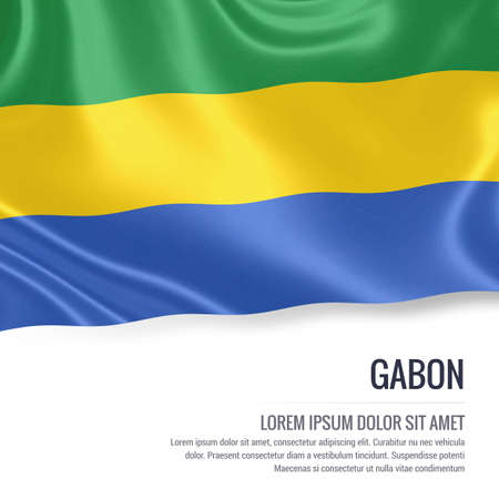 Silky flag of Gabon waving on an isolated white background with the white text area for your advert message. 3D rendering. Stock Photo