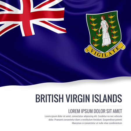virgin islands: Silky flag of British Virgin Islands waving on an isolated white background with the white text area for your advert message. 3D rendering. Stock Photo