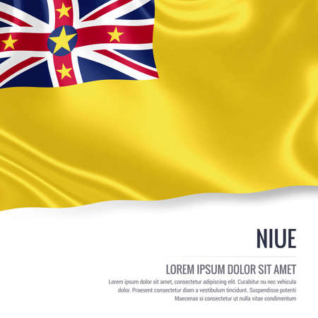 Silky flag of Niue waving on an isolated white background with the white text area for your advert message. 3D rendering. Stock Photo