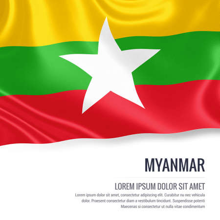burmese: Silky flag of Myanmar waving on an isolated white background with the white text area for your advert message. 3D rendering. Stock Photo