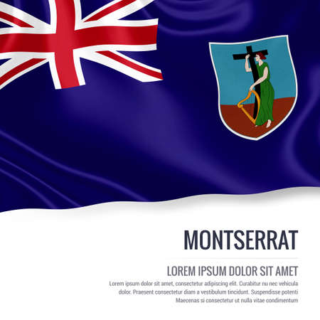 Silky flag of Montserrat waving on an isolated white background with the white text area for your advert message. 3D rendering.
