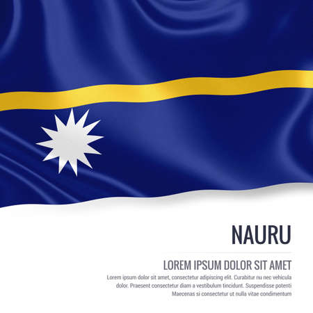 Silky flag of Nauru waving on an isolated white background with the white text area for your advert message. 3D rendering. Stock Photo