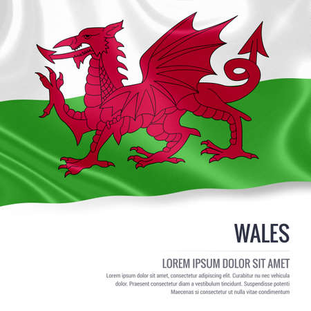 Silky flag of Wales waving on an isolated white background with the white text area for your advert message. 3D rendering.
