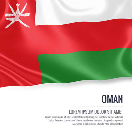 Silky flag of Oman waving on an isolated white background with the white text area for your advert message. 3D rendering.