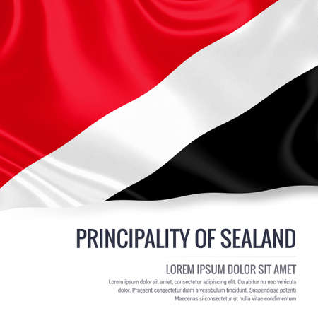sealand: Silky flag of Principality of Sealand waving on an isolated white background with the white text area for your advert message. 3D rendering.