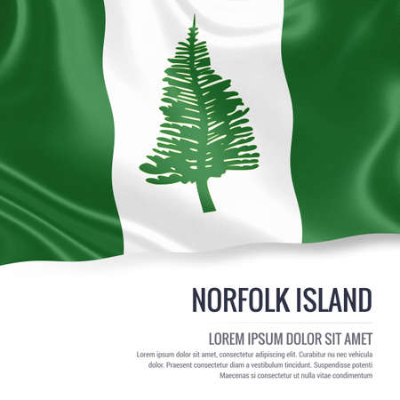 kingston: Silky flag of Norfolk Island waving on an isolated white background with the white text area for your advert message. 3D rendering. Stock Photo