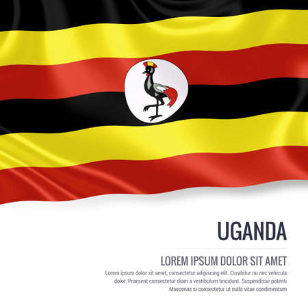 kampala: Silky flag of Uganda waving on an isolated white background with the white text area for your advert message. 3D rendering.