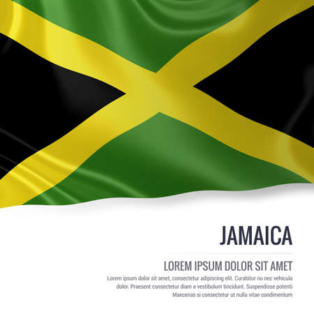 kingston: Silky flag of Jamaica waving on an isolated white background with the white text area for your advert message. 3D rendering.