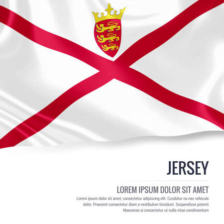 jersey: Silky flag of Jersey waving on an isolated white background with the white text area for your advert message. 3D rendering. Stock Photo