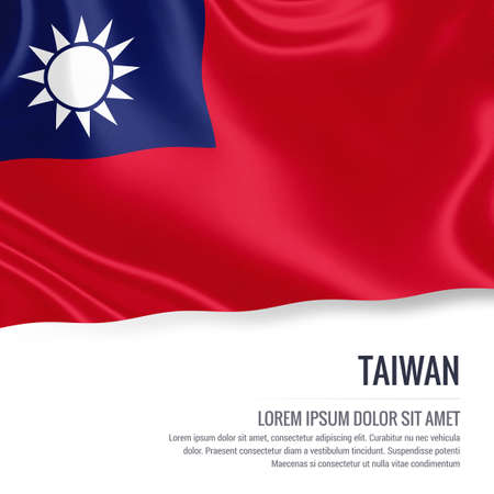Silky flag of Taiwan waving on an isolated white background with the white text area for your advert message. 3D rendering.