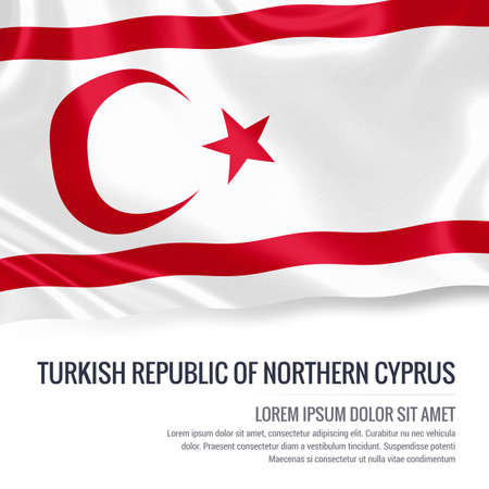 Silky flag of Turkish Republic of Northern Cyprus waving on an isolated white background with the white text area for your advert message. 3D rendering.