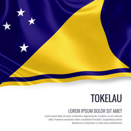 Silky flag of Tokelau waving on an isolated white background with the white text area for your advert message. 3D rendering. Stock Photo