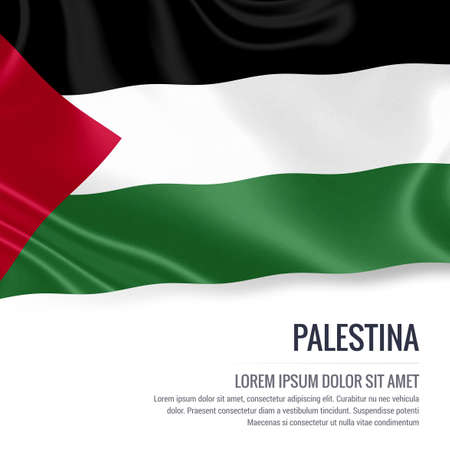 Silky flag of Palestina waving on an isolated white background with the white text area for your advert message. 3D rendering.