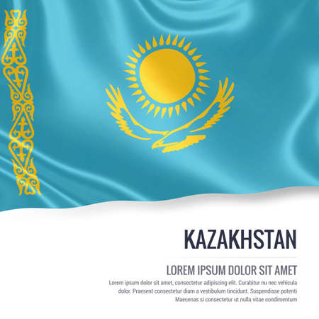 Silky flag of Kazakhstan waving on an isolated white background with the white text area for your advert message. 3D rendering.