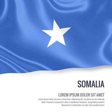 Silky flag of Somalia waving on an isolated white background with the white text area for your advert message. 3D rendering.