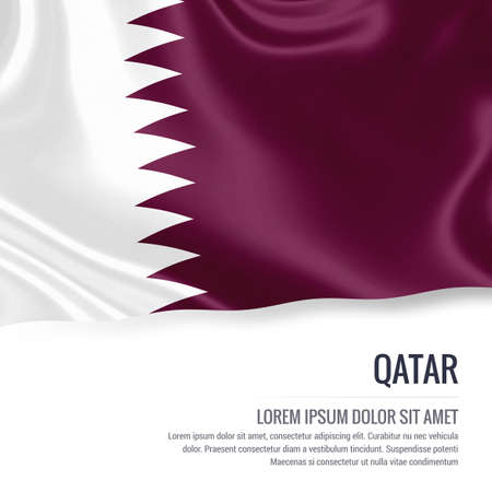 Silky flag of Qatar waving on an isolated white background with the white text area for your advert message. 3D rendering. Stock Photo - 81044037