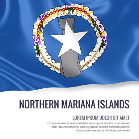 Silky flag of Northern Mariana Islands waving on an isolated white background with the white text area for your advert message. 3D rendering.