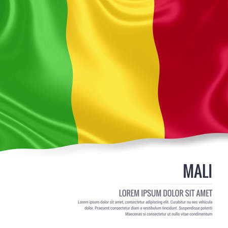 Silky flag of Mali waving on an isolated white background with the white text area for your advert message. 3D rendering.