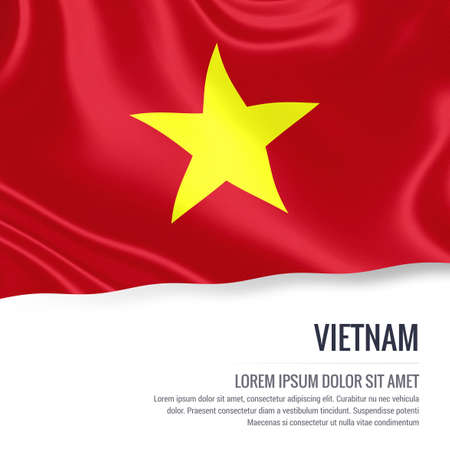 Silky flag of Vietnam waving on an isolated white background with the white text area for your advert message. 3D rendering. Imagens - 77896301
