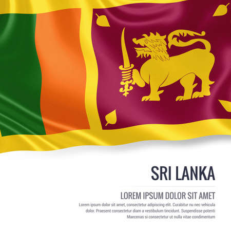 sri lankan flag: Silky flag of Sri Lanka waving on an isolated white background with the white text area for your advert message. 3D rendering.