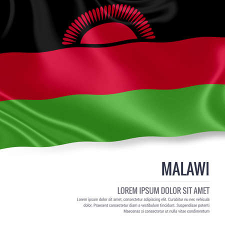 malawian flag: Silky flag of Malawi waving on an isolated white background with the white text area for your advert message. 3D rendering.