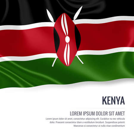 nairobi: Silky flag of Kenya waving on an isolated white background with the white text area for your advert message. 3D rendering.