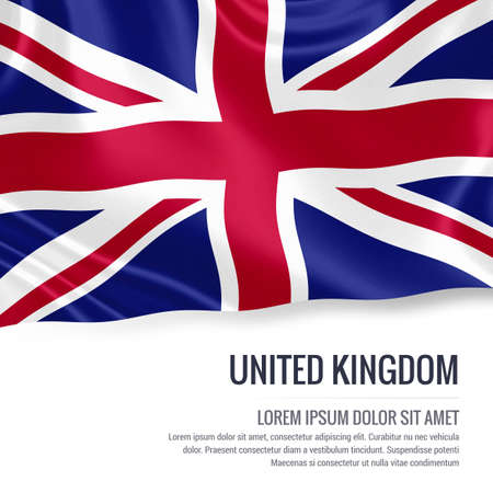 United Kingdom flag. Silky flag of United Kingdom waving on an isolated white background with the white text area for your advert message. 3D rendering.