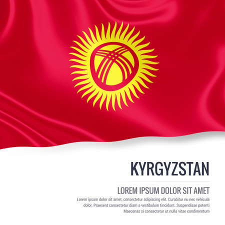 kyrgyzstan: Kyrgyzstan flag. Silky flag of Kyrgyzstan waving on an isolated white background with the white text area for your advert message. 3D rendering.