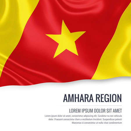 national flag ethiopia: Amhara Region flag. Flag of Ethiopian state Amhara Region waving on an isolated white background. State name and the text area for your message. 3D illustration.