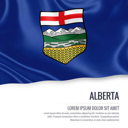 alberta: Canadian state Alberta flag waving on an isolated white background. State name and the text area for your message.
