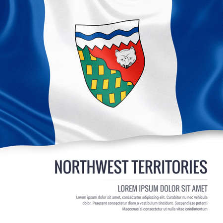 canadian flag: Canadian state Northwest Territories flag waving on an isolated white background. State name and the text area for your message. Stock Photo