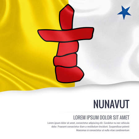 Canadian state Nunavut flag waving on an isolated white background. State name and the text area for your message. Stock Photo