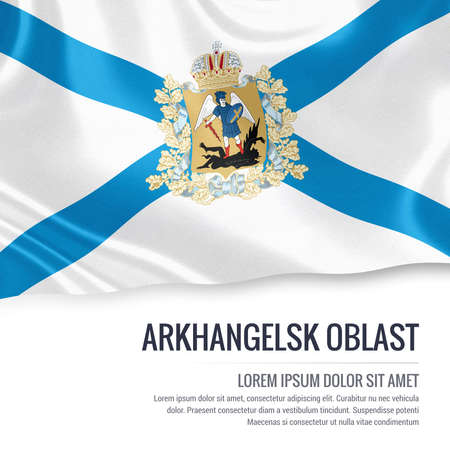 Russian state Arkhangelsk Oblast flag waving on an isolated white background. State name and the text area for your message. 3D illustration.