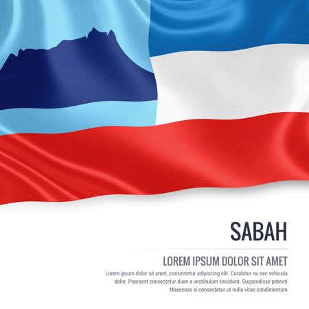 サバ州旗。マレーシア国サバ州振って分離の白い背景の上の旗。状態の名前とメッセージのテキスト領域。3 D イラスト。