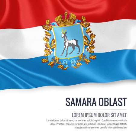 Russian state Samara Oblast flag waving on an isolated white background. State name and the text area for your message. 3D illustration. Stock Photo