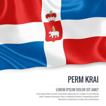 Russian state Perm Krai flag waving on an isolated white background. State name and the text area for your message. 3D illustration.