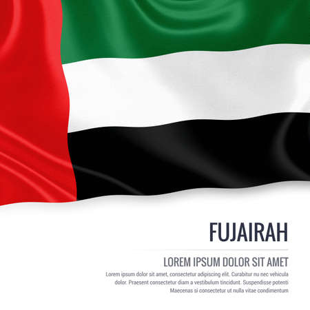 The United Arab Emirates state Fujairah flag waving on an isolated on white. State name and the text area for your message. 3D illustration.