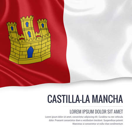 Spanish state Castilla-la Mancha flag waving on an isolated white background. State name and the text area for your message.