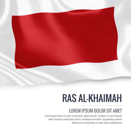 The United Arab Emirates state Ras Al-Khaimah flag waving on an isolated white background. State name and the text area for your message. 3D illustration.