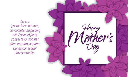 Happy Mothers Day Layout Design With Flowers. Vector Illustration. Feminine  Design For Menu,