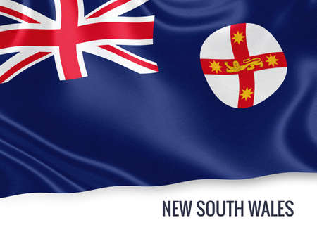 Flag of Australian state New South Wales waving on an isolated white background.