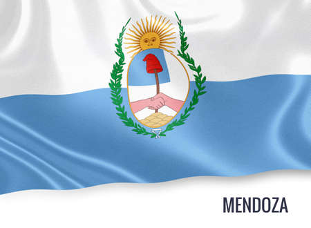 Flag of Argentinian state Mendoza waving on an isolated white background. Stock Photo