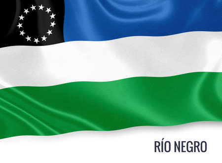 Flag of Argentinian state Río Negro waving on an isolated white background.