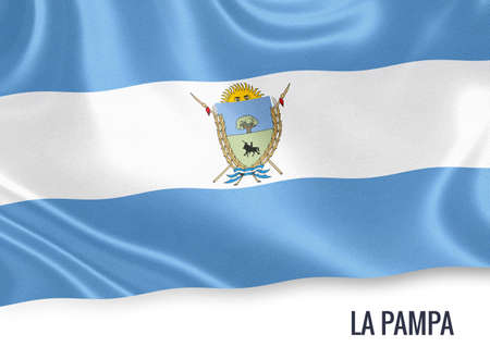 la: Flag of Argentinian state La Pampa waving on an isolated white background.
