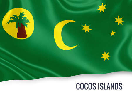 Flag of Australian state Cocos Islands waving on an isolated white background.