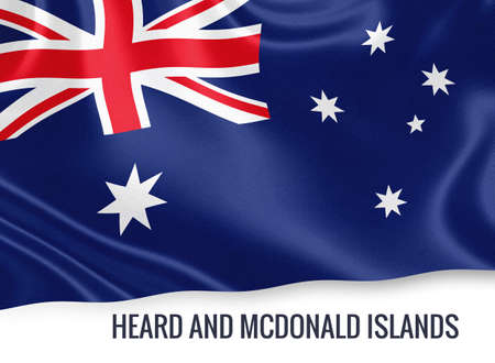 Flag of Australian state Heard and Mcdonald Islands waving on an isolated white background.