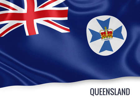 bender: Flag of Australian state Queensland waving on an isolated white background.