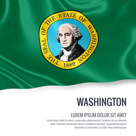 Flag of U.S. state Washington waving on an isolated white background. State name and the text area for your message.