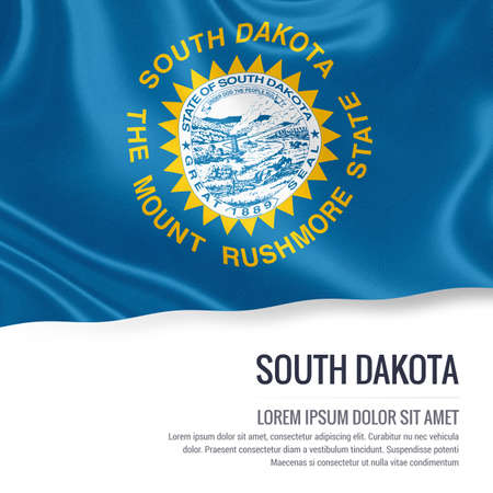 Flag of U.S. state South Dakota waving on an isolated white background. State name and the text area for your message. Stock Photo
